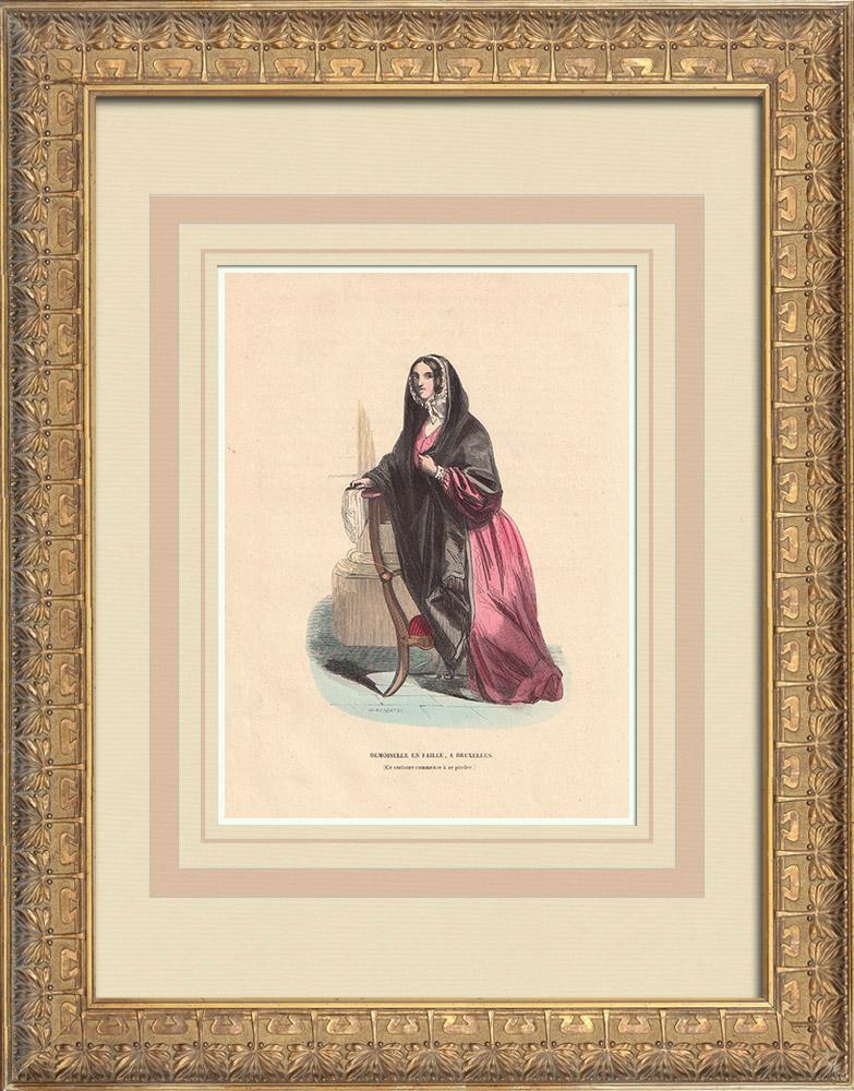 Stampe Antiche & Disegni | Costume di una signorina a Bruxelles (Belgio) | Incisione xilografica | 1844