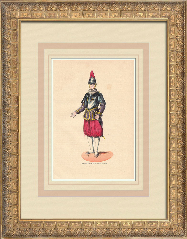 Antique Prints & Drawings | Typical Costume of a Swiss Guard (Vatican) | Wood engraving | 1844