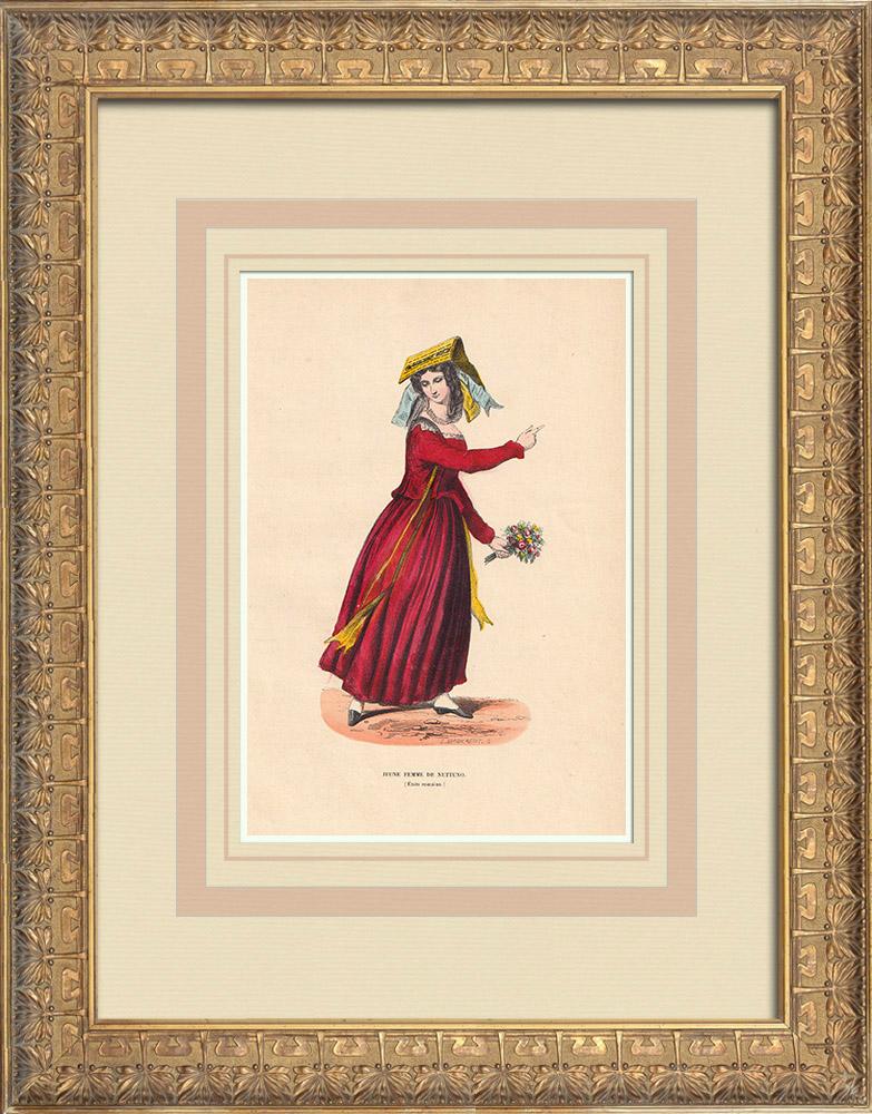 Grabados & Dibujos Antiguos | Traje típico de una señora joven de Nettuno (Italia)  | Grabado xilográfico | 1844