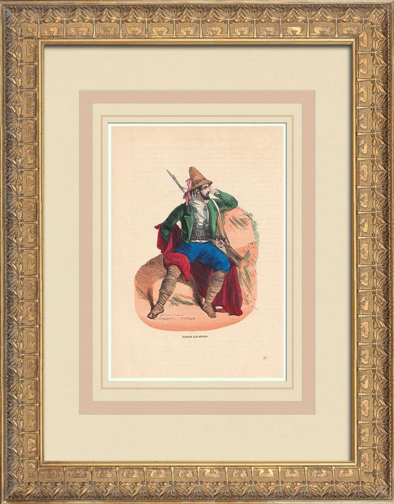 Stampe Antiche & Disegni | Costume tipico di un contadino Calabrese (Italia) | Incisione xilografica | 1844