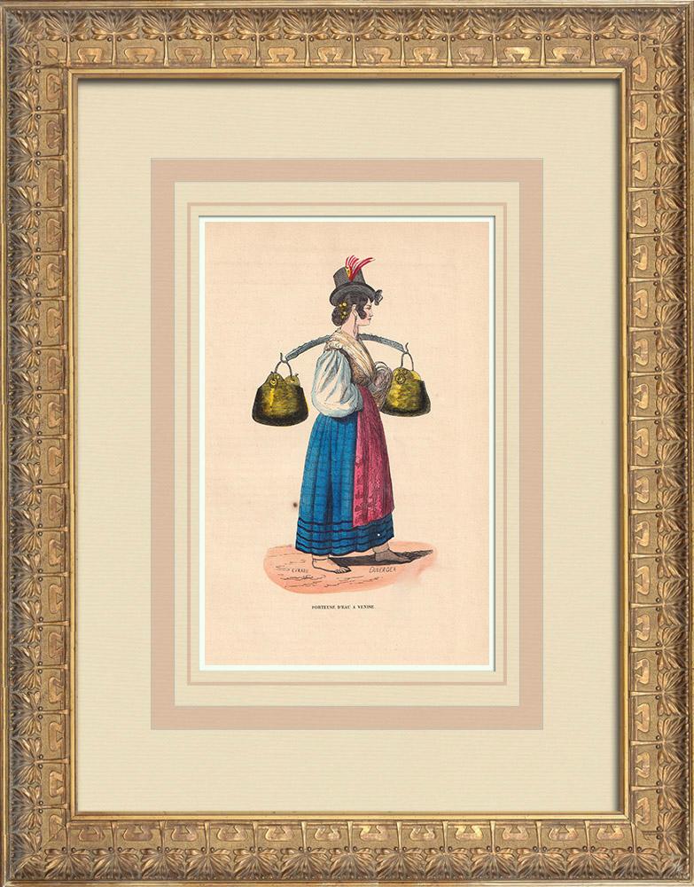 Grabados & Dibujos Antiguos | Traje típico de un portador de agua en Venecia (Italia) | Grabado xilográfico | 1844