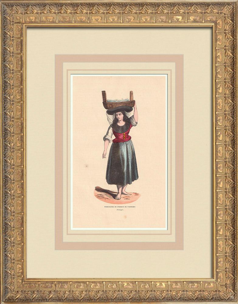 Stampe Antiche & Disegni | Costume tipico di un mercante di pesce a Pardilhó (Portogallo) | Incisione xilografica | 1844