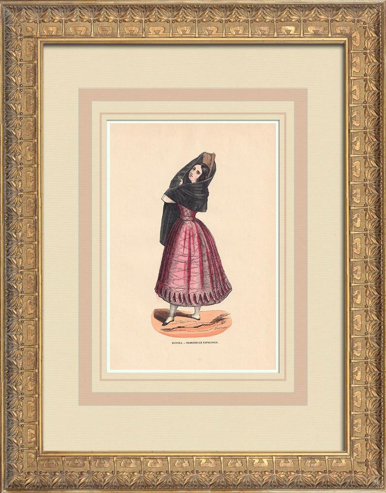 Stampe Antiche & Disegni | Costume tipico di una Manola (Spagna) | Incisione xilografica | 1844