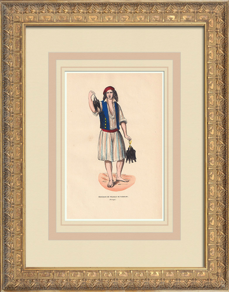 Antique Prints & Drawings | Typical costume of a poultry merchant in Pardilhó (Portugal)  | Wood engraving | 1844