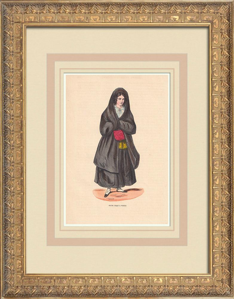 Stampe Antiche & Disegni | Costume tipico di una ragazza a Porto (Portogallo) | Incisione xilografica | 1844