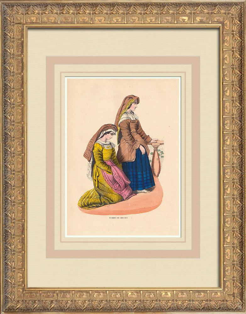 Stampe Antiche & Disegni | Costume tipico delle donne di Miranda (Portogallo) | Incisione xilografica | 1844