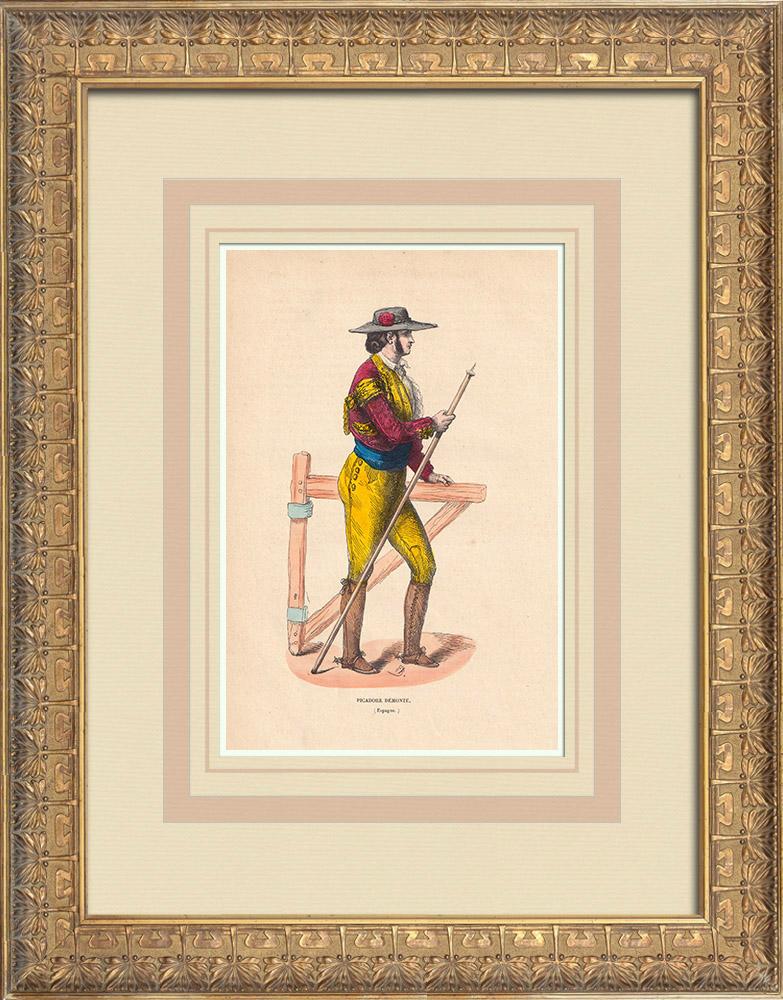 Stampe Antiche & Disegni | Costume tipico di un picador (Spagna) | Incisione xilografica | 1844