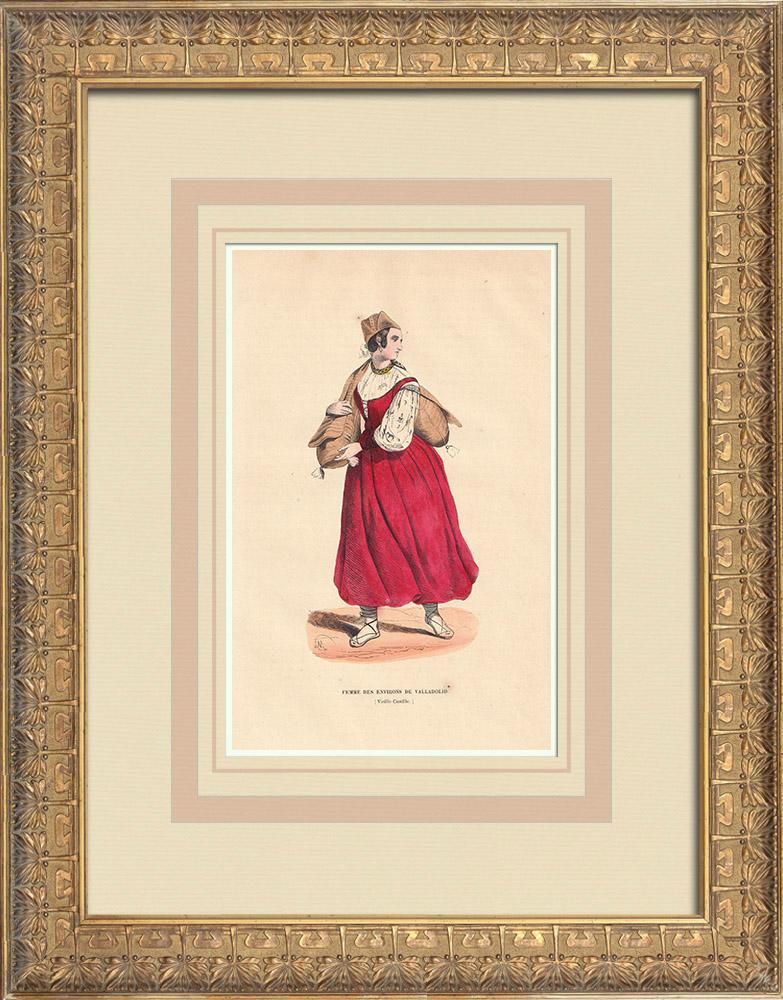 Stampe Antiche & Disegni | Costume tipico di una donna di Valladolid (Spagna) | Incisione xilografica | 1844