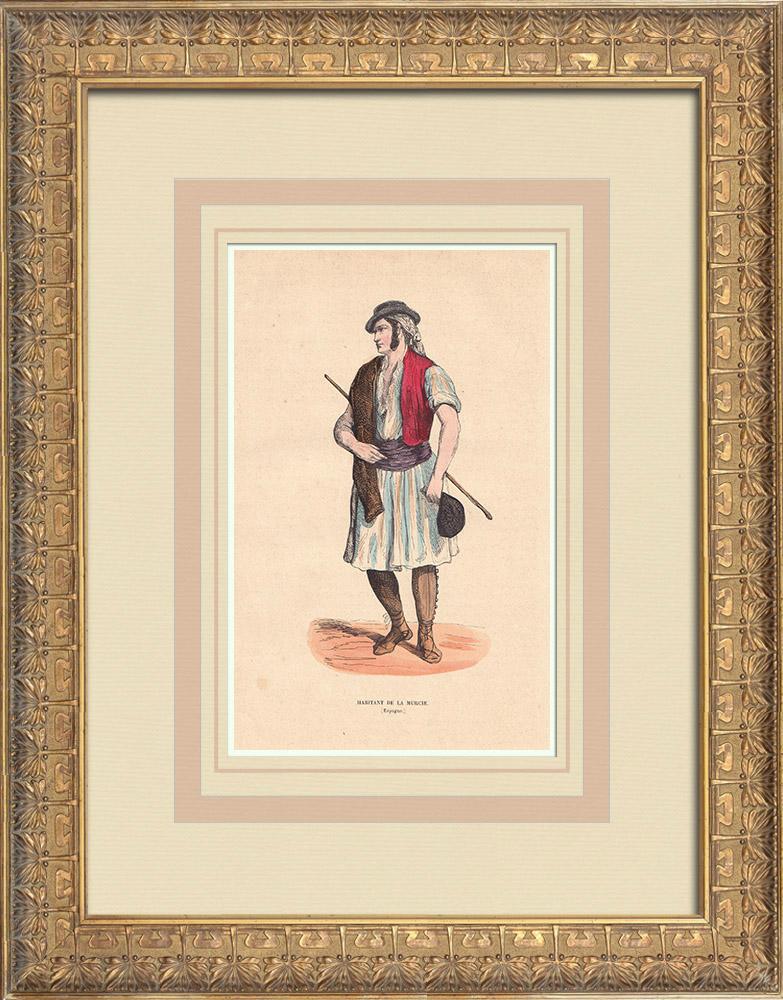 Grabados & Dibujos Antiguos | Traje típico de un habitante de Murcia (España) | Grabado xilográfico | 1844