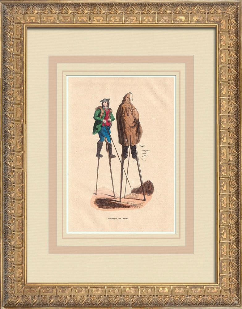 Stampe Antiche & Disegni | Costume tipico degli abitanti delle Landes (Francia) | Incisione xilografica | 1844