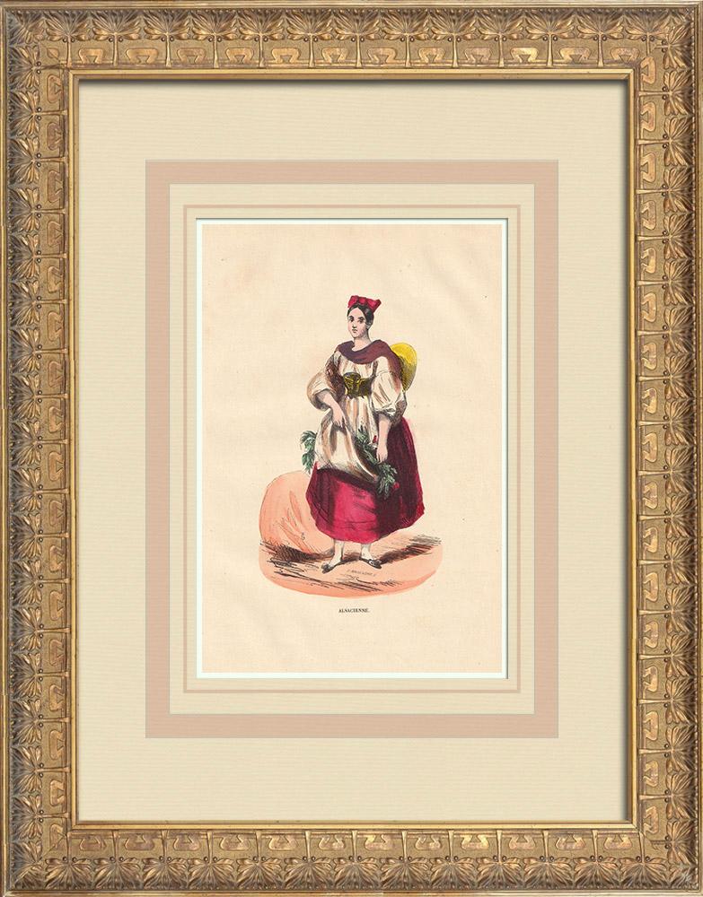 Stampe Antiche & Disegni | Costume di un Alsaziana (Francia) | Incisione xilografica | 1844