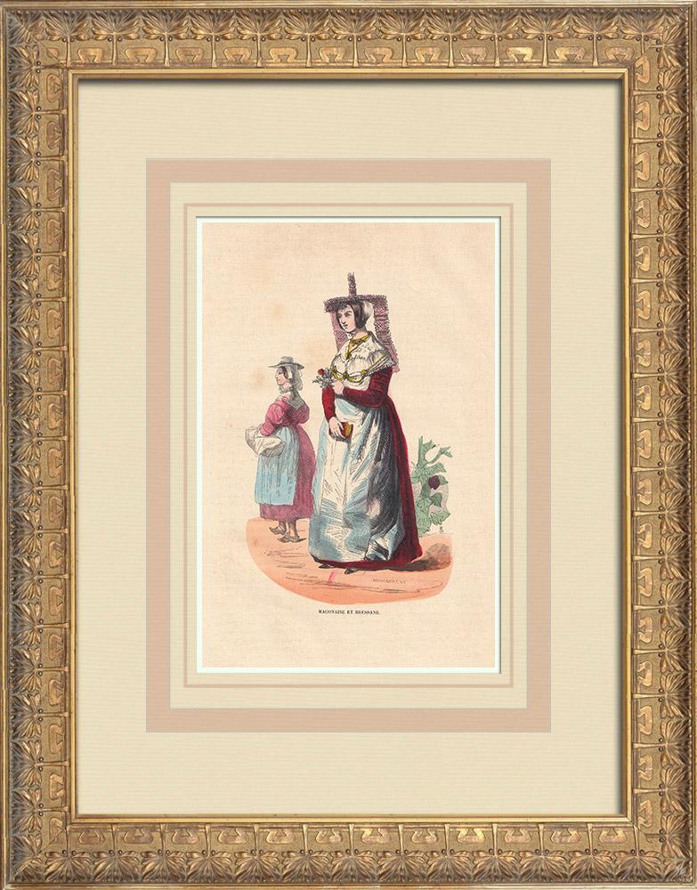 Gravures Anciennes & Dessins   Costumes typiques des femmes du Mâconnais et de la Bresse (France)   Gravure sur bois   1844