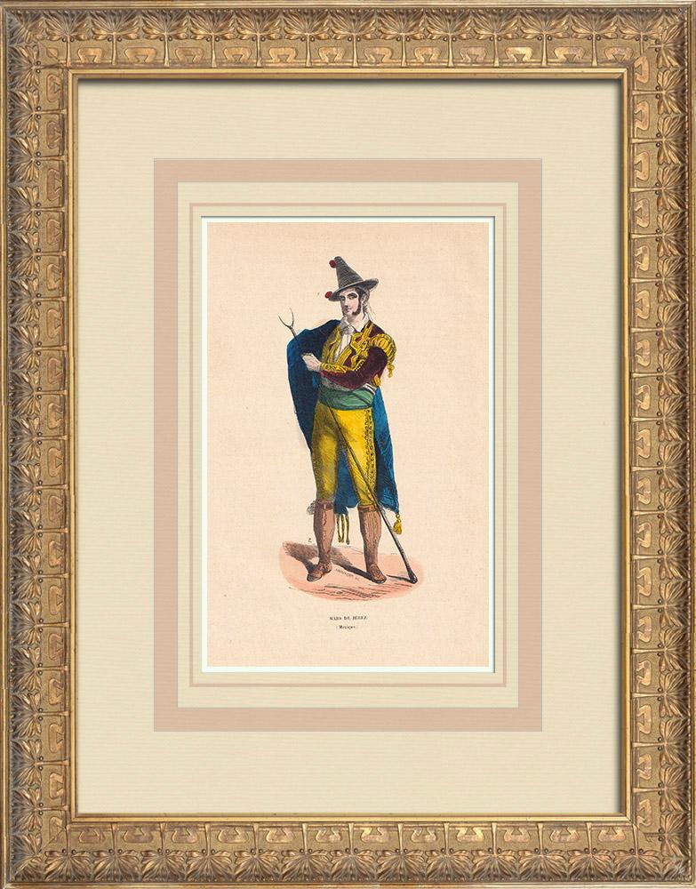 Grabados & Dibujos Antiguos | Traje típico de uno Majo de Jerez (México) | Grabado xilográfico | 1844