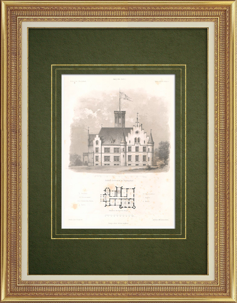 Grabados & Dibujos Antiguos | Chateau Liebenow cerca de Düringshof (Alemania) | Litografía | 1865