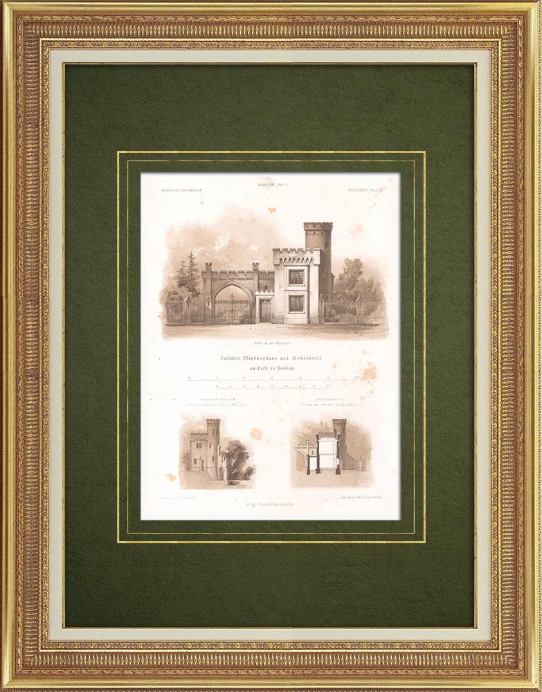 Stampe Antiche & Disegni | Parco a Dobra (Polonia) | Litografia | 1865