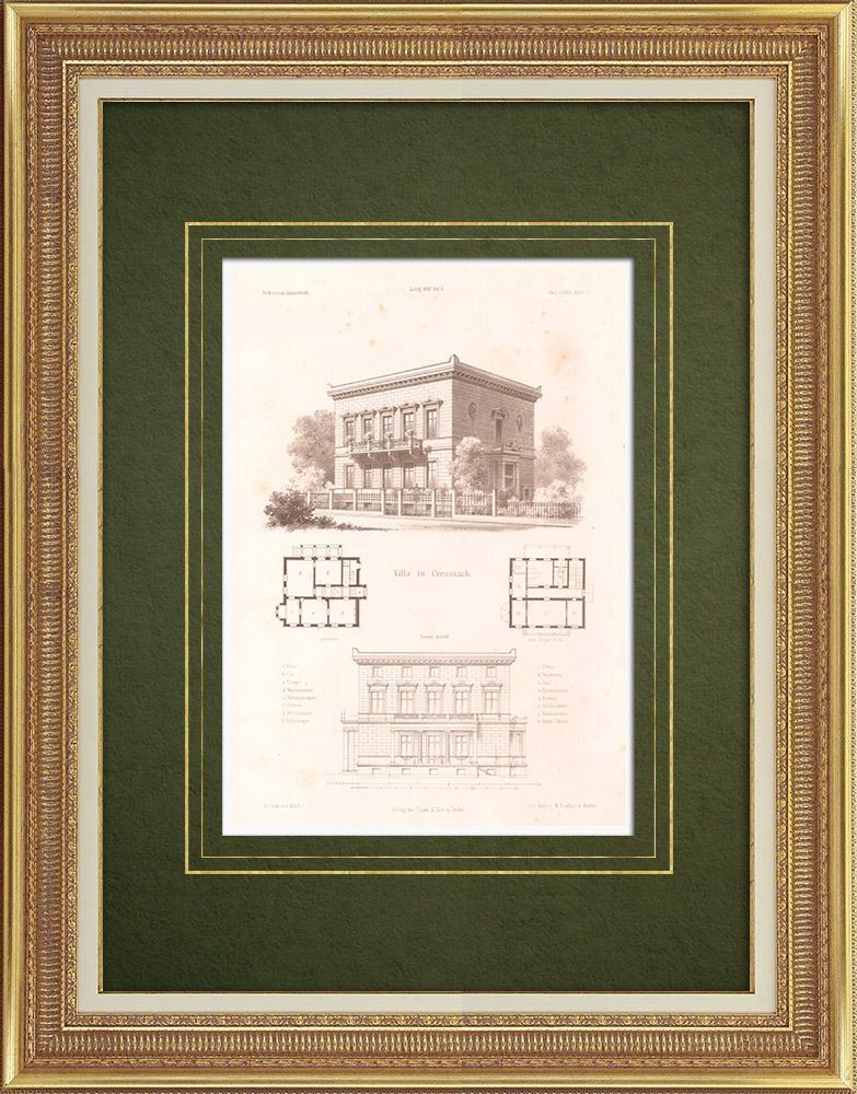 Stampe Antiche & Disegni   Villa a Creuznach - Renania-Palatinato (Germania)   Litografia   1867