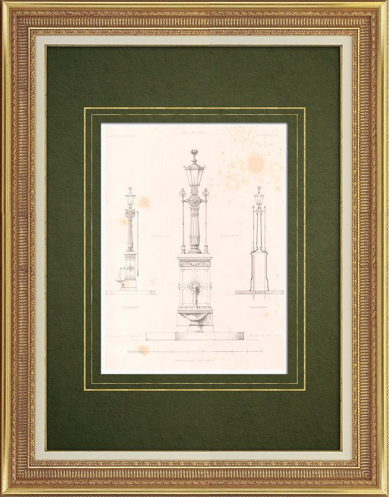 Stampe Antiche & Disegni | Fontana a Colonia (Germania) | Litografia | 1867