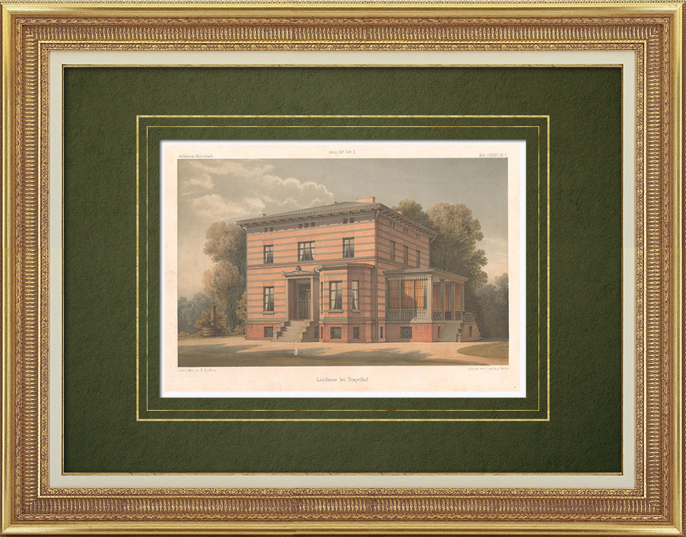 Antique Prints & Drawings   Country house near Tempelhof - Berlin (Germany)   Lithography   1867