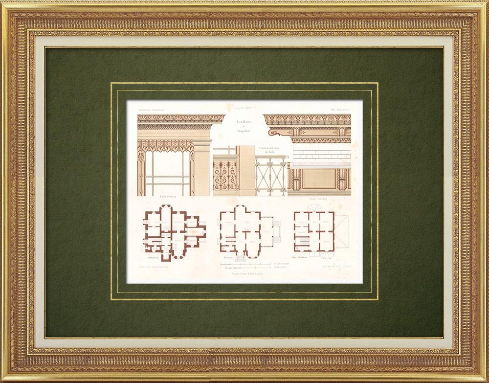 Stampe Antiche & Disegni | Casa di campagna vicino a Tempelhof - Berlino - Piantas ed ornamenti (Germania) | Litografia | 1865