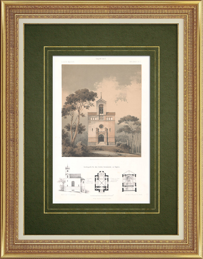 Antique Prints & Drawings | Funeral chapel for the count Sierakowski in Waplitz (Poland) | Lithography | 1865
