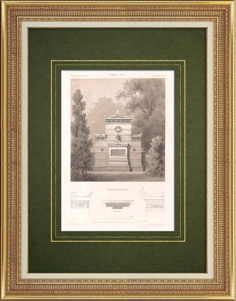 Stampe Antiche & Disegni   Monumento funerario vicino a Sorau (Polonia)   Litografia   1865