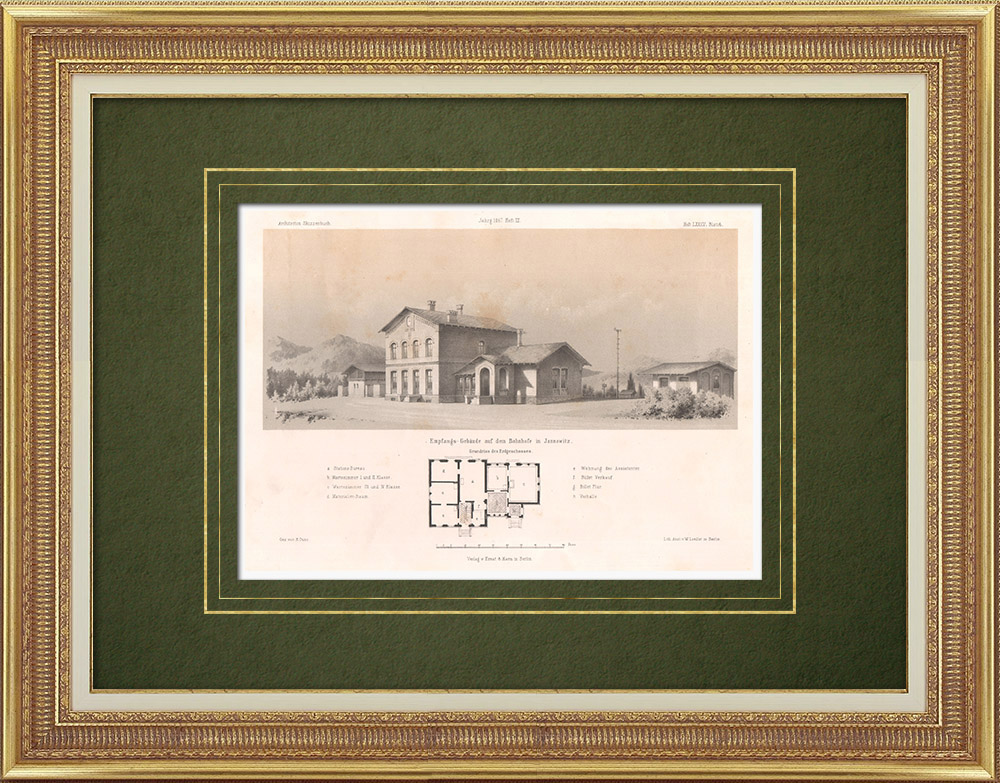 Antique Prints & Drawings | Railway station in Jannowitz (Germany) | Lithography | 1865