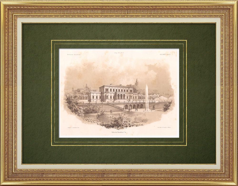 Stampe Antiche & Disegni | Villa vicino a Francoforte (Germania) | Litografia | 1865