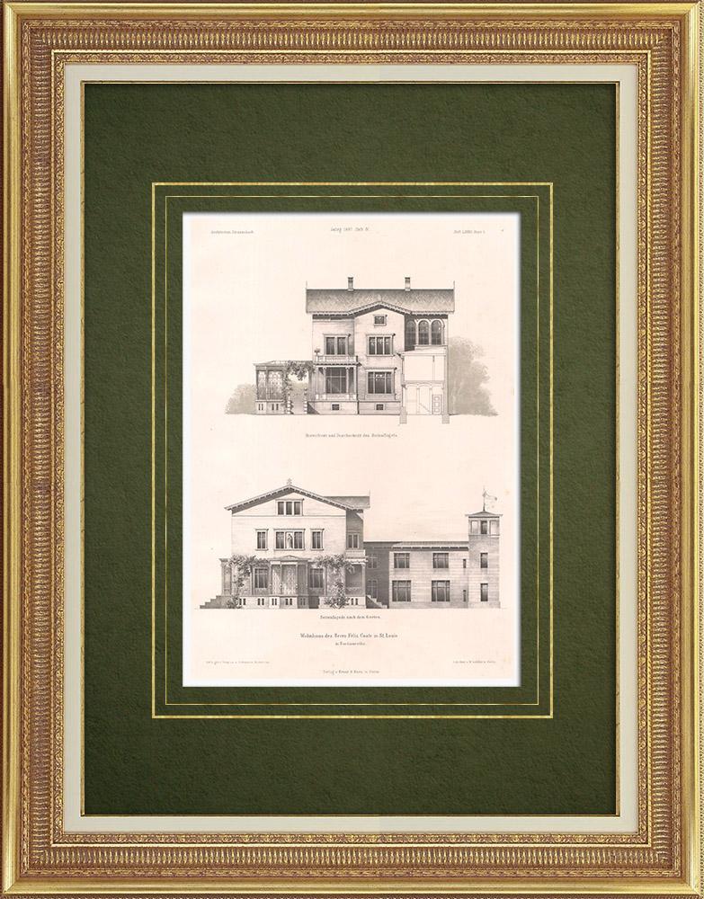 Stampe Antiche & Disegni | Abitazione a Saint Louis (Stati Uniti d'America) | Litografia | 1865