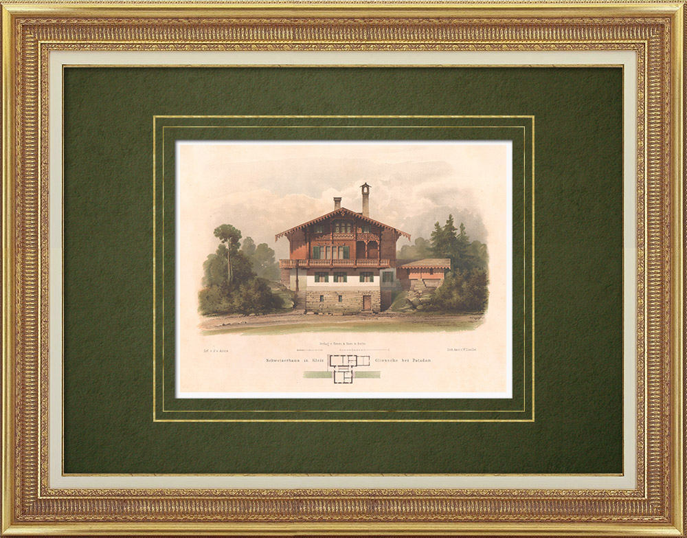 Grabados & Dibujos Antiguos | Casa en Klein Glienicke cerca de Potsdam (Alemania) | Litografía | 1865