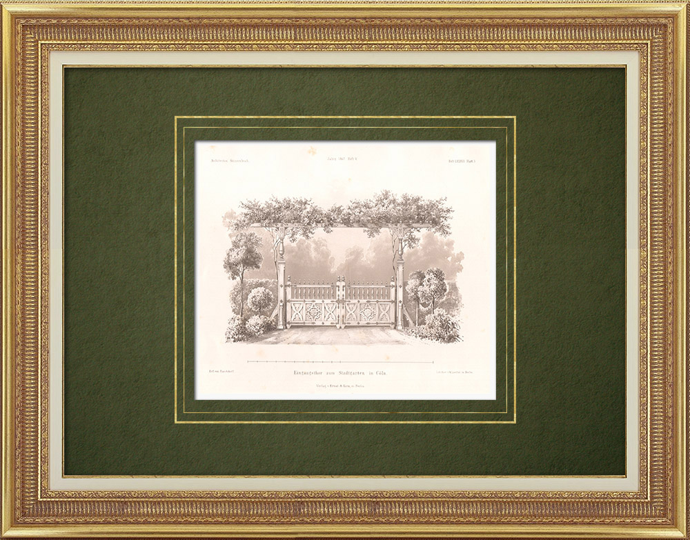 Stampe Antiche & Disegni | Portale d'ingresso al giardino pubblico di Colonia (Germania) | Litografia | 1865