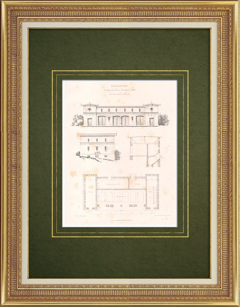 Antique Prints & Drawings   Building in Friedland in Upper Silesia (Poland)   Lithography   1865