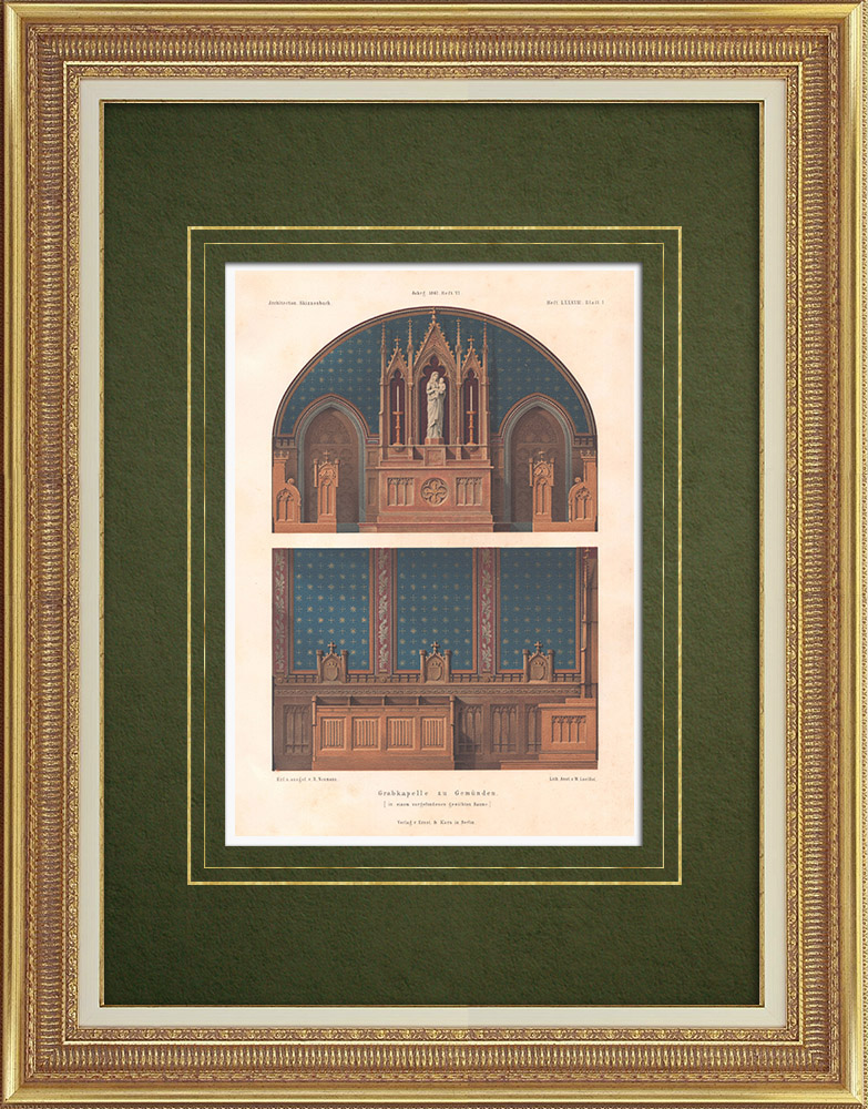 Grabados & Dibujos Antiguos | Capilla funeraria y Cripta en Gemünden (Alemania) | Litografía | 1867