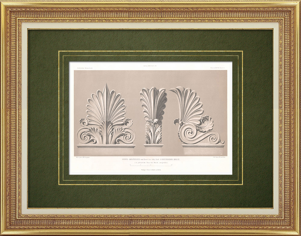 Antique Prints & Drawings | Decoration of a house in Berlin - Acanthus (Germany) | Lithography | 1865