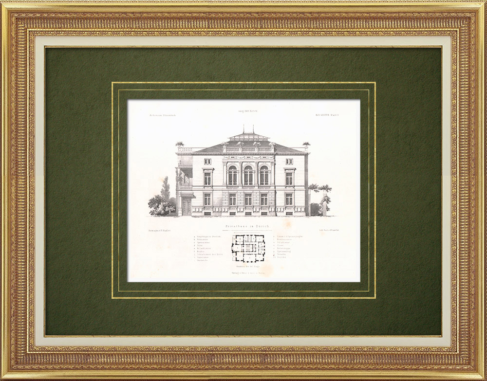 Antique Prints & Drawings | Dwelling in Zurich (Switzerland) | Lithography | 1865