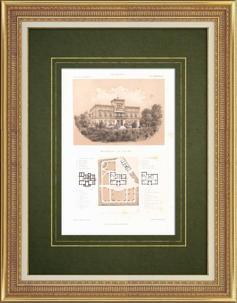 Antique Prints & Drawings | House in Gotha (Germany) | Lithography | 1865