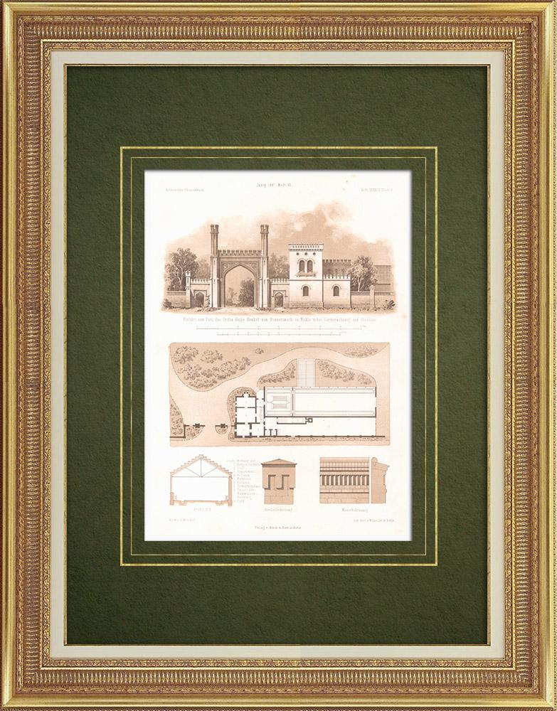 Stampe Antiche & Disegni | Parco con Gardener's house e Greenhouse a Naklo (Polonia) | Litografia | 1865