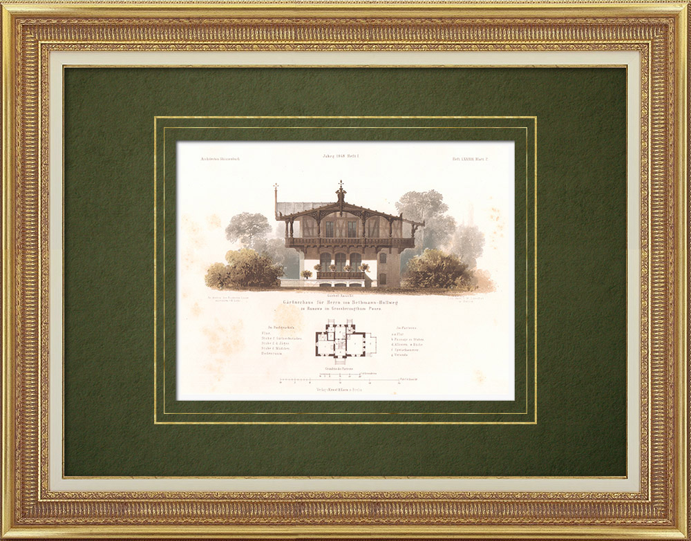 Antique Prints & Drawings | Gardener's house in Runowo (Poland) | Lithography | 1865