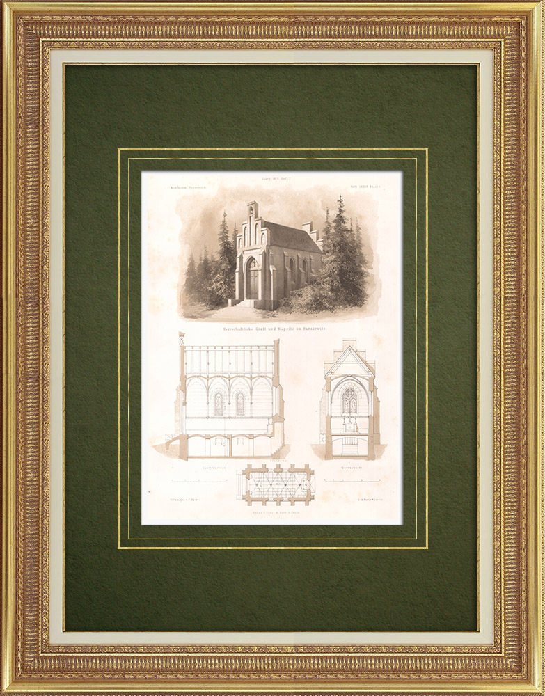 Antique Prints & Drawings | Tomb and Chapel at Barzkowice (Poland) | Lithography | 1865