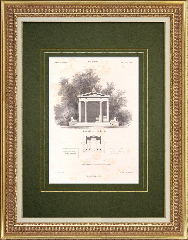 Stampe Antiche & Disegni | Luogo di riposo in un Parco (Germania) | Litografia | 1865