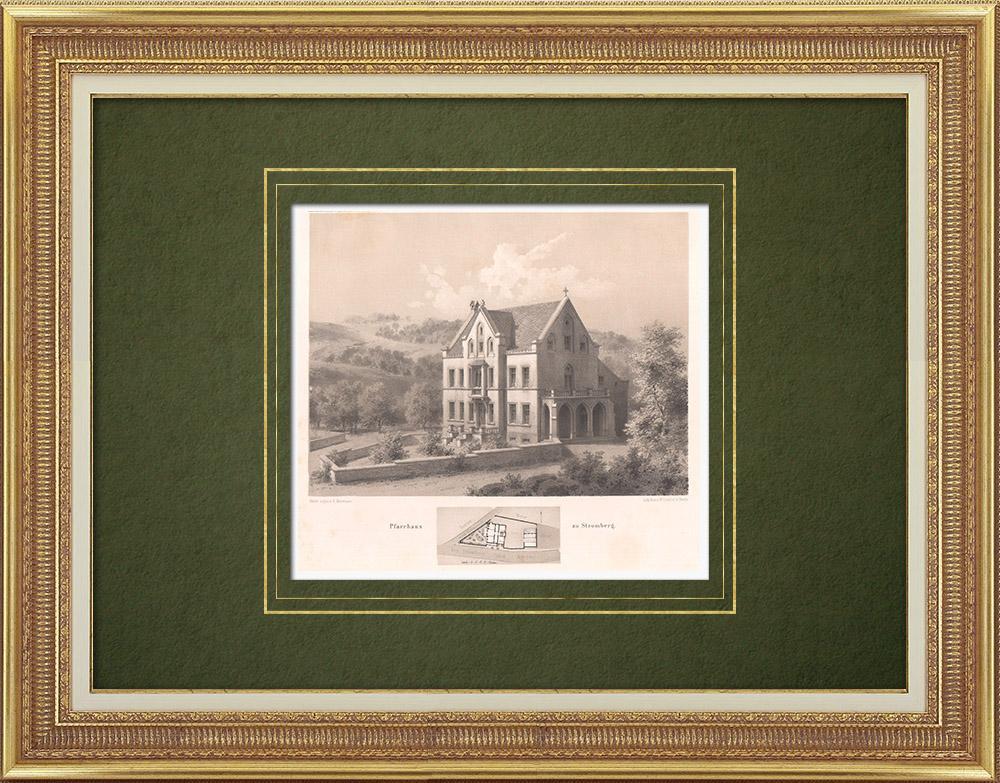 Gravures Anciennes & Dessins   Presbytère à Stromberg  - Rhénanie-Palatinat (Allemagne)   Lithographie   1865