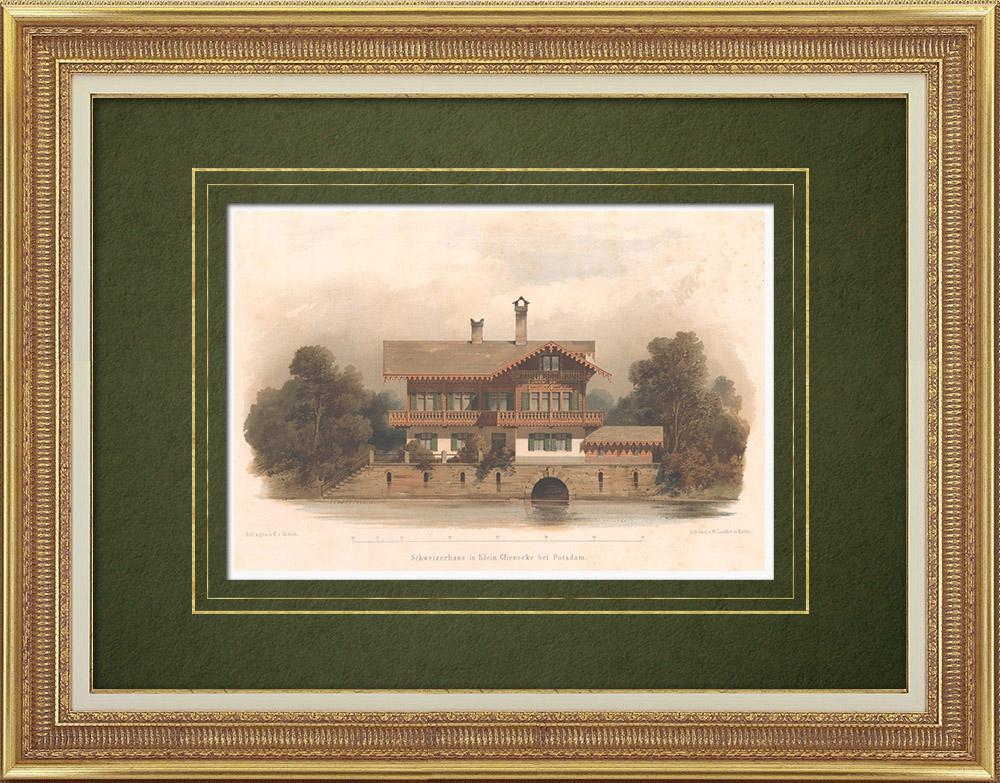 Stampe Antiche & Disegni | Chalet a Klein Glienicke vicino a Potsdam (Germania) | Litografia | 1865
