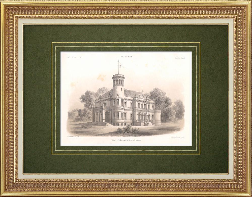 Stampe Antiche & Disegni   Groß Mokratz Castello sull'isola di Wolin (Polonia)   Litografia   1865
