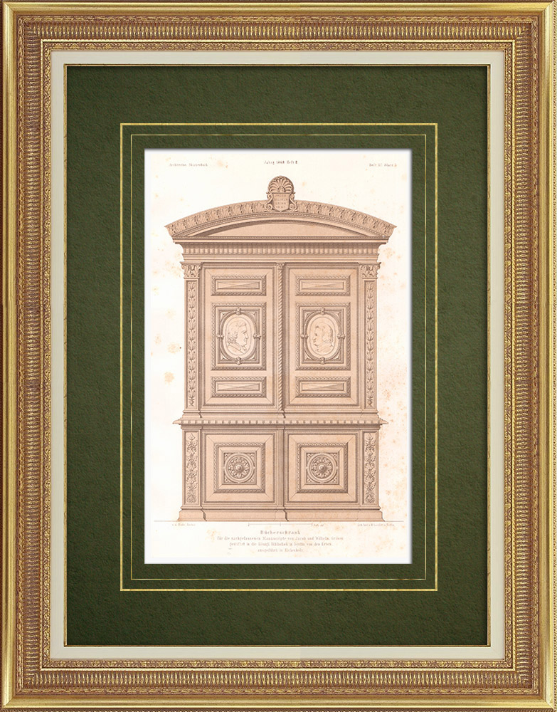 Antique Prints & Drawings | Oak Wardrobe in the Royal Library in Berlin (Germany) | Lithography | 1865