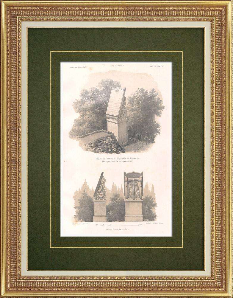 Stampe Antiche & Disegni | Tomba nel Cimitero di Beesdau (Germania) | Litografia | 1865