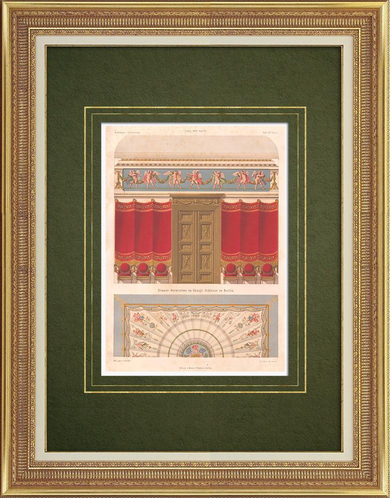 Stampe Antiche & Disegni | Decorazione di una camera da letto del Castello Reale di Berlino (Germania) | Litografia | 1868