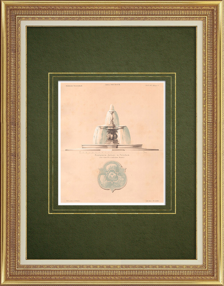 Antique Prints & Drawings | Fountain in Potsdam (Germany) | Lithography | 1868