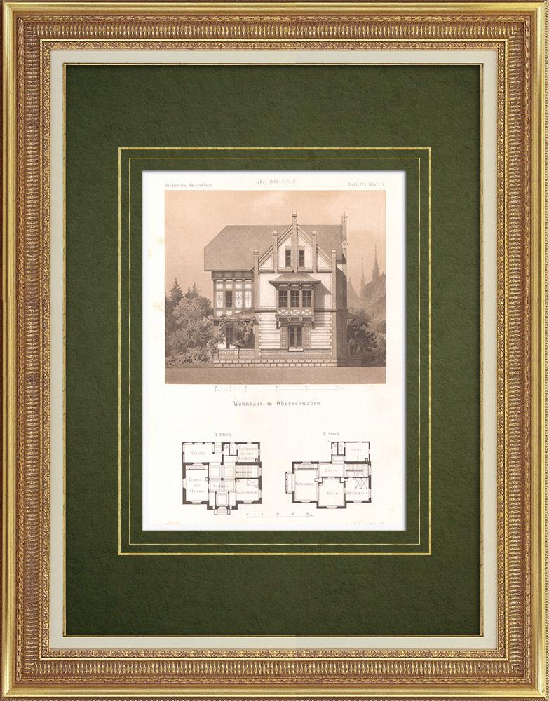 Grabados & Dibujos Antiguos | Casa en Alta Suabia (Alemania) | Litografía | 1865