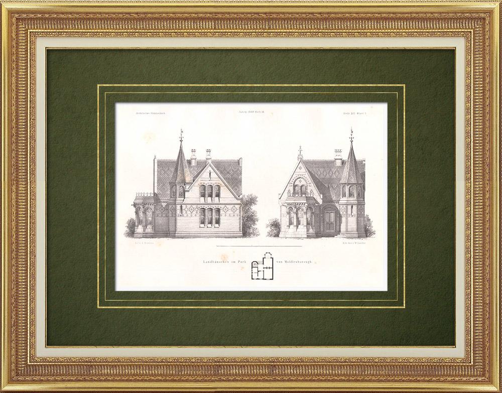 Stampe Antiche & Disegni | Casa di campagna nel parco di Middlesborough (Inghilterra) | Litografia | 1865