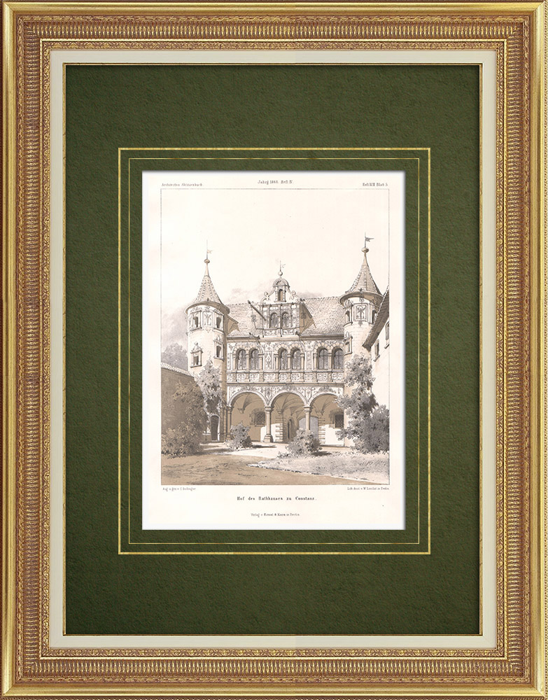 Antique Prints & Drawings | Constance City Hall courtyard (Germany) | Lithography | 1865
