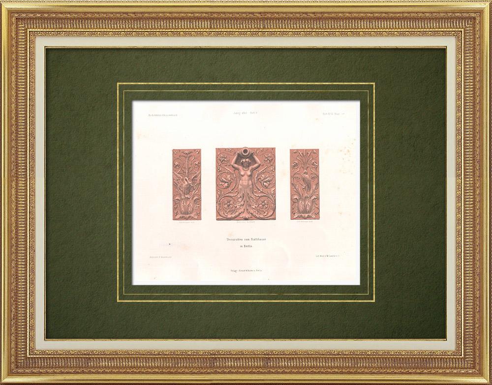 Gravures Anciennes & Dessins | Terres cuites à l'hôtel de ville de Berlin (Allemagne) | Lithographie | 1865